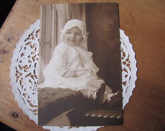 Antique Cabinet Photo,  Photograph of Baby Girl Wearing Bonnet and Button Up Shoes, Late 1800's, Early 1900's, Collectible Photo