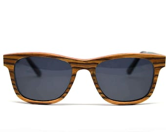 Hand-crafted Sustainable Zebra Wood Sunglasses with Polarized Lenses