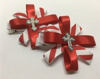 Candy Cane Flowers Hair Bow Set~The Cross
