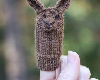Bunny Knit Wool Finger Puppet