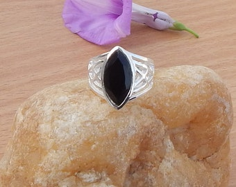 Natural Black Onyx Gemstone Ring | Bezel Artisan Gift Ring | Black Onyx 925 Sterling Silver Ring | Birthstone Ring Size 6.5