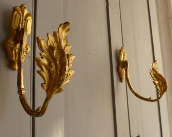 Pair antique French bronze ormolu curtain tiebacks