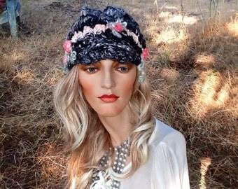 Knit hat, women's hat, newsboy hat, beanie hat, visor,  hand knit beret hat, hand spun art yarn, black white silver grey warm grey pink