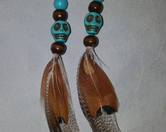 Turquoise Skull and Feather Earrings- Pair