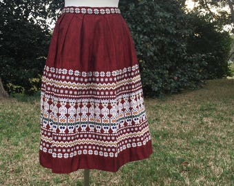 Woven Midi-Skirt / Authentic {Handmade} Red & White South American Embroidered Woven / Full Midi Skirt, Size 6/8