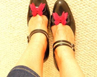 2D Butterfly shoe clips - Rockabilly Pinup shoe clips - Vintage style shoe clips - Quirky shoe clips - Dancing shoe clips