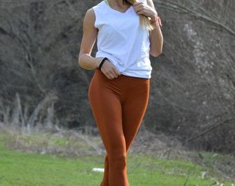 Elastic Brown Extra Long Leggings, Women's  Workout Pants, Handmade Tight Pants Leggings by SSDfashion