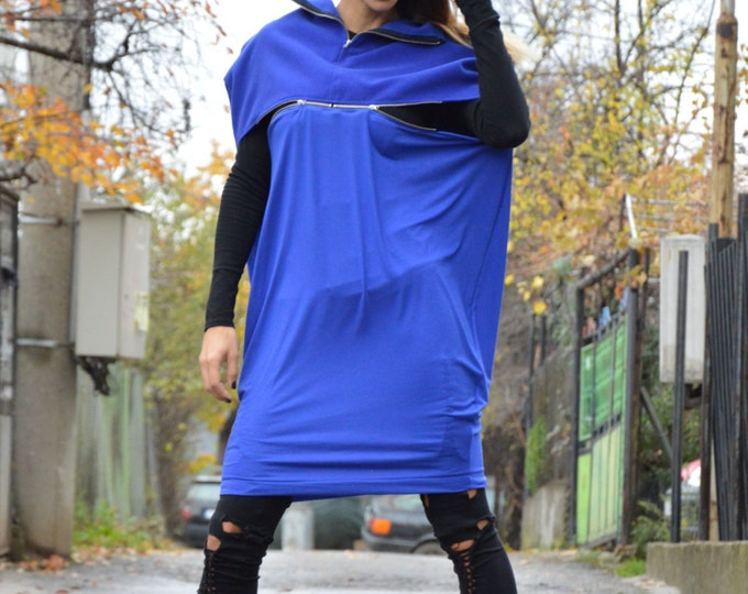 Maxi Blue Extravagant Dress, Wool Tunic With Zipper, Woman Loose Top, Oversize Party Dress By Ssdfashion