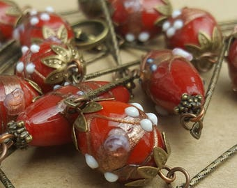 Vintage  Italian 'Wedding Cake' Murano Venetian Red Gold Aventurine Fiorato Glitter Glass Czech Bohemian Flapper Necklace Beads