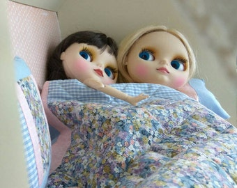 Quilt Blanket and 2 Pillow cushion Blythe 2 pc Dolls Bedding Set Barbie Doll OOAK Playscale Pink check Flower Blue trim scale Bed patchwork