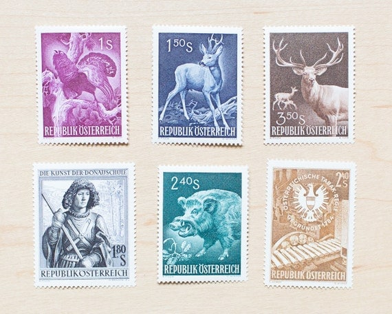 6 austria vintage deer postage stamps unused wedding for Stamps for wedding invitations canada