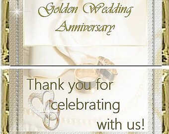 Golden Wedding Candy Wrapper, Wedding, Anniversary, Gala Event, Fundraiser, Celebration, Party Favor