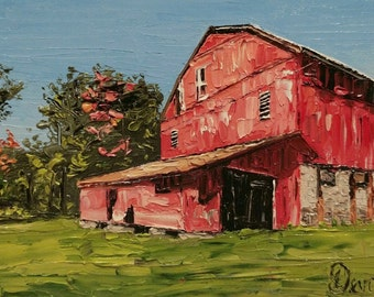 "Original 5""x7"" Landscape Oil Painting: ""Ol' Red"""