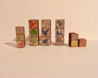 Children's Wooden Blocks / Vintage Wood Interlocking Blocks