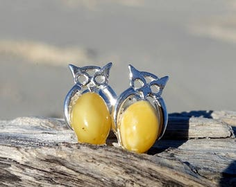 Baltic Amber Owl Stud Earrings, Sterling Silver Butterscotch Amber Earrings, Owl Earrings