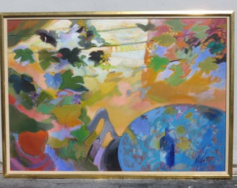 Monumental Mid-Century Modern French Abstract Painting, Table And Chair In A Wine Vineyard, Signed J. Villatte  LaTreille Medaille D'Argent.