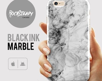 Black Ink Marble Phone case, iPhone 7 Plus Cover, 8, X, 6s Case, SE, 5S, 5C Case, Samsung Galaxy S8, S7, S6, S5, S4 Cell Phone Case