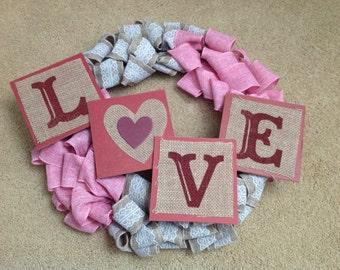 Love Burlap Wreath