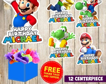 12 Super Mario Bros centerpieces, Super Mario Bros printable centerpieces, Super Mario Bros party supplies, Super Mario Bros birthday