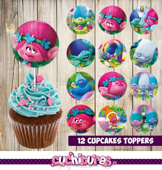 12 Printable Trolls Cupcakes Toppers