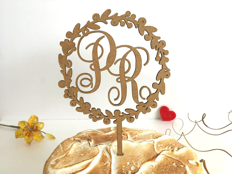 Wreath wedding cake topper Monogram cake topper Initial wood