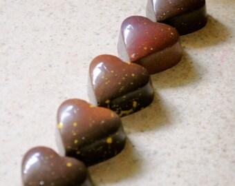 Dark Chocolate with salted butter Caramel, 5 pieces handmade Artisan Chocolates with sea salt Caramel filling, Belgian premium chocolates