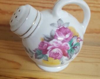 Vintage Porcelain Salt Shaker, Pot Belly Shaker, Floral Porcelain Salt Shaker