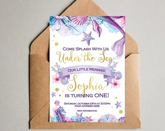 Under the sea birthday invitation Mermaid birthday invitation Mermaid invites Mermaid party invitation Under the sea invite Gold watercolor
