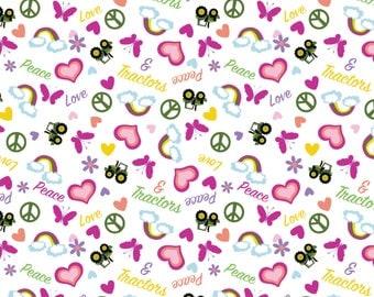 John Deere Tossed Peace love & Tractors Premium 100% Cotton fabric PRE-ORDER