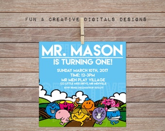 Mr Men Inspired Square Invite