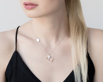 Geometric necklace, silver necklace, designer necklace, geometric pendant, square pendant, handmade necklace, gift for her