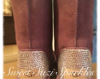 Custom Bling Ugg Boots Pink Bailey Bow By Sweetsuzisparkles