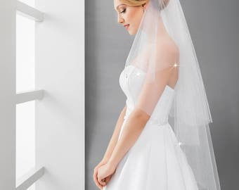 2 tier Veil with Icycles Crystals | Icycles Crystals Veil in Ivory and White