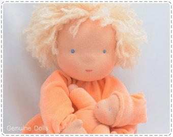 "Waldorf Doll. 14"". Waldorf toys, soft dolls, Waldorf baby doll, bunting baby. Blue eyes. Blond hair."