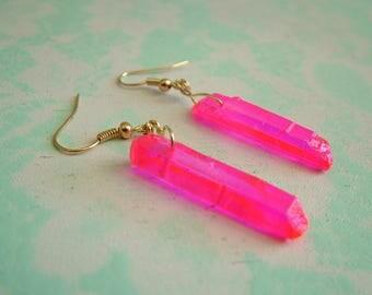 Hot Pink Crystal Dangling Earrings