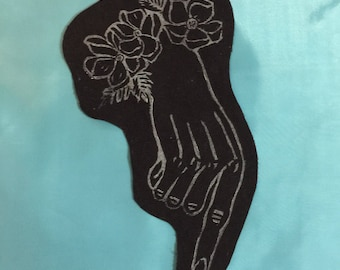 Hand Stamped Victorian Mourning Hand Patch