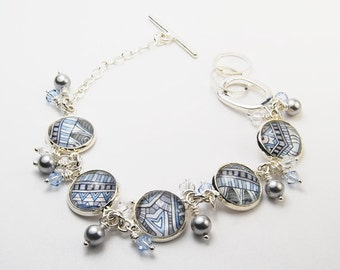Safari Blue Denim Abstract Bracelet with Pearls and Crystals