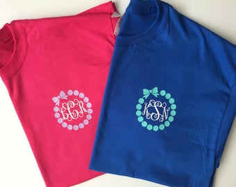Circle bow monogram tshirt