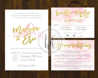Watercolor Wedding Invitation, Wedding Invitations, Elegant Wedding Invitation, Water Color Wedding Invite, Modern Wedding Invitation