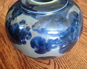 WIZARD OF CLAY Art Pottery Vase/Wizard Of Clay Crystalline Navy Blue Olive Green Vase/Studio Art Pottery Signed Wizard of Clay Kozlowski