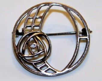 Sterling Silver Mackintosh Glasgow Rose Brooch 925 Art Nouveau
