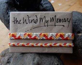 Matching Set: 8-strand 'Tesselation' friendship bracelet in 'Corona' colour palette and matching herringbone braid