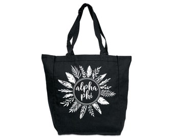 Alpha Phi Feathers Tote Sorority Tote Greek Licensed