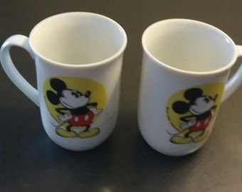Pair of vintage Mickey Mouse mugs