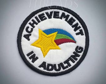 Sew-on patch - merit badge Achievement in Adulting embroidery - two sizes: 6 cm / 2.5 in, 8 cm / 3 in