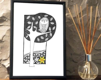 Quirky Owl in the tree Print from an original art Illustration ART005P