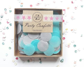Tissue Paper Confetti, Table Decorations, Confetti Toss, Wedding Decoration, Balloon Confetti, Turquoise and Silver
