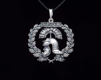 Roman Helmet Pendant, Imperial Helmet with Oak Wreath, SPQR, sterling silver, handmade ... roman jewelry, helmet necklace, galea