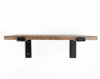 Industrial Wood Shelves SET OF 2 - Minimalist - Farmhouse Modern - Iron