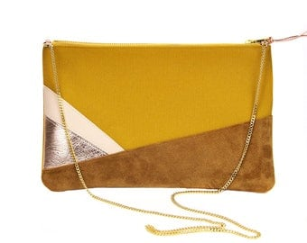 Cotton pouch. Leather clutch